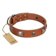 """Amorous Escapade"" Embellished FDT Artisan Tan Leather Boxer Collar with Chrome Plated Crossbones and Plates"