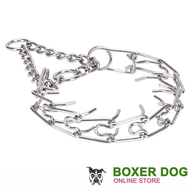 Corrosion proof dog pinch collar with stainless steel removable prongs