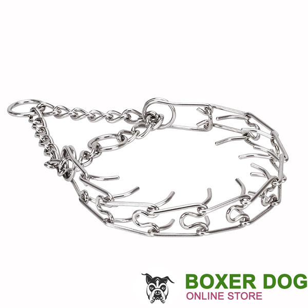 Prong collar of stainless steel for badly behaved canines