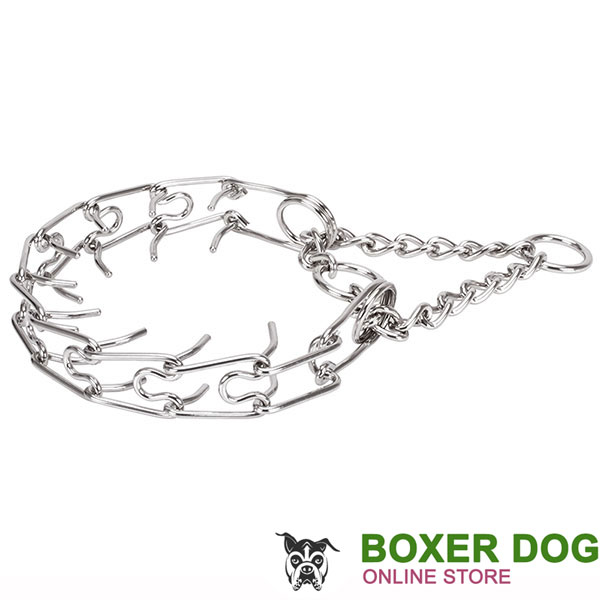 Dependable stainless steel dog pinch collar for large dogs
