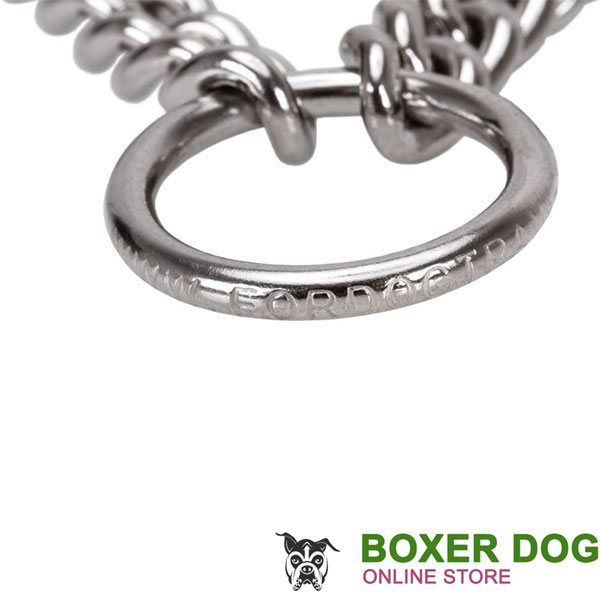 Durable dog pinch collar of corrosion proof stainless steel for large canines