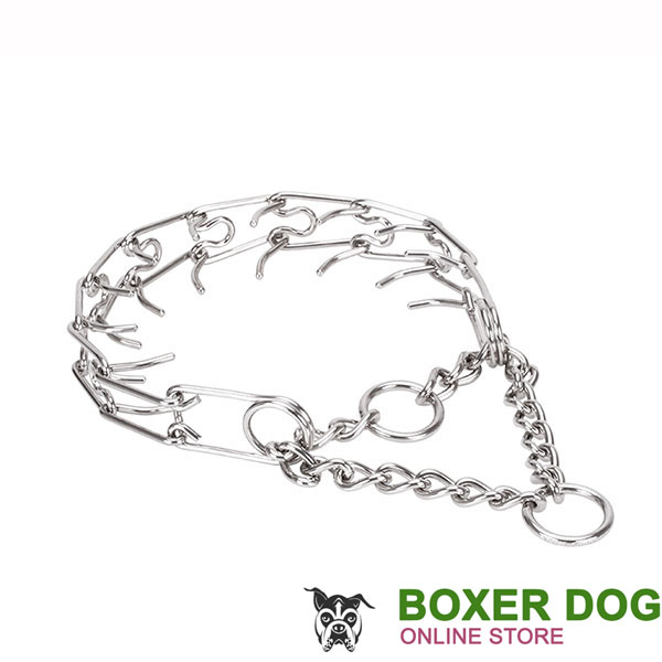 Adjustable stainless steel dog pinch collar with removable prongs for large pets