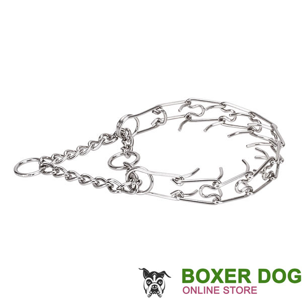 Corrosion proof stainless steel prong collar for aggressive canines