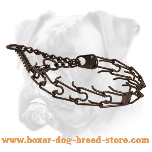 Prong collar of rust resistant black stainless steel for badly behaved pets