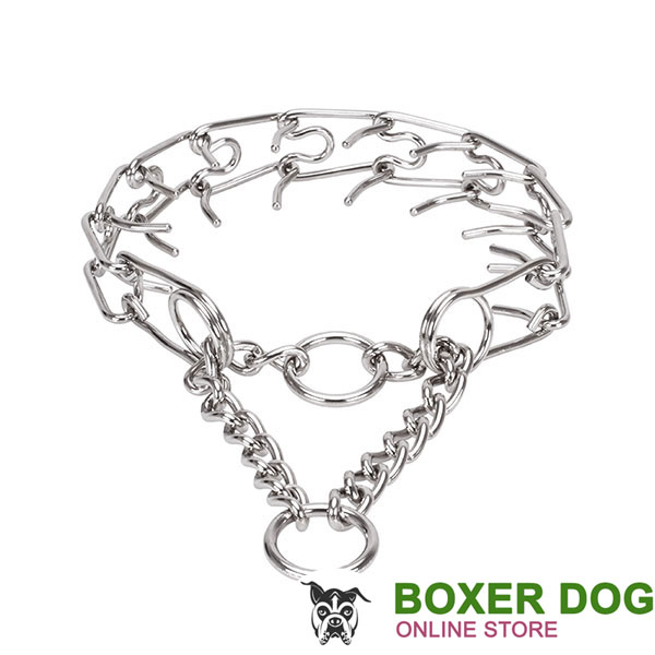Reliable stainless steel dog prong collar with rust proof removable prongs