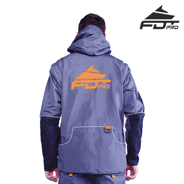 FDT Pro Dog Tracking Jacket Grey Color with Comfy Side Pockets