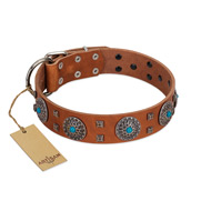 """Blue Sands"" FDT Artisan Tan Leather Boxer Collar with Silver-like Studs and Round Conchos with Stones"