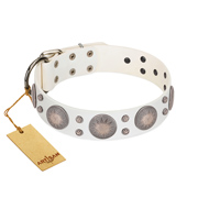 """Mystic Sunset"" Designer FDT Artisan White Leather Boxer Collar with Studs"