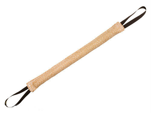 Long jute bite tug with 2 handles for Boxer