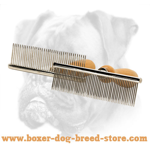 Grooming dog brush with metal teeth