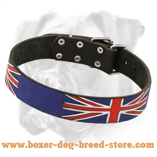 Unique Leather Collar with British Flag Painting for Boxer