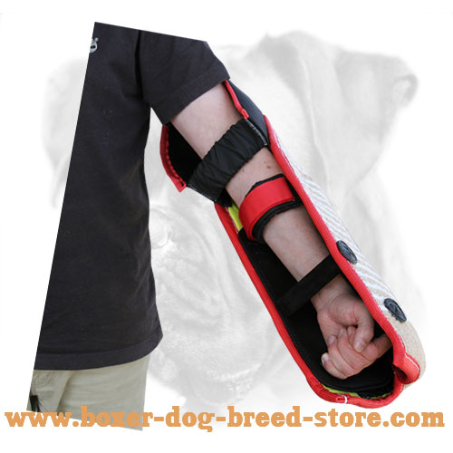 Reliable bite dog jute sleeve with velcro straps