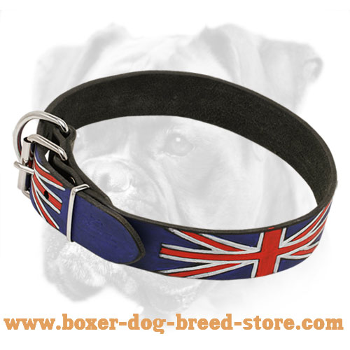 Leather Dog Collar with UK flag