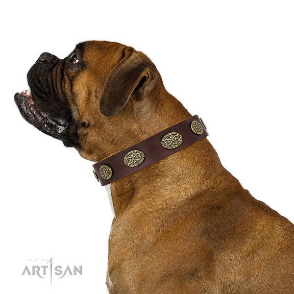 Trendy embellishments on daily use natural genuine leather dog collar