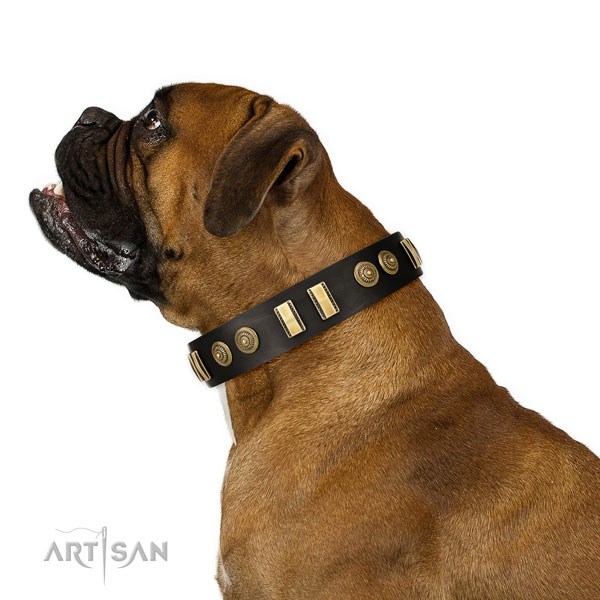 Corrosion resistant fittings on full grain natural leather dog collar for comfortable wearing