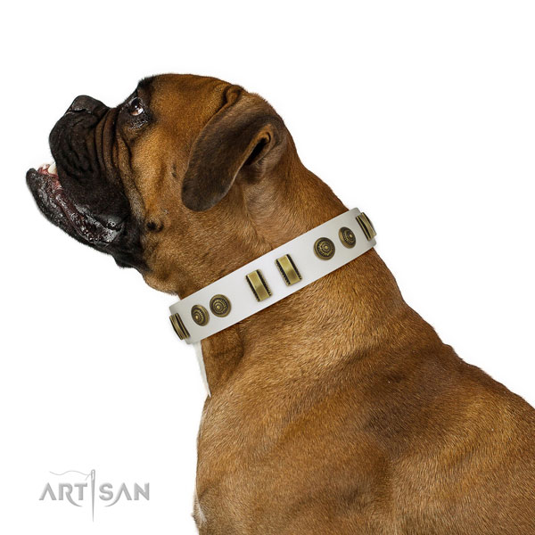 Corrosion resistant hardware on full grain genuine leather dog collar for daily walking