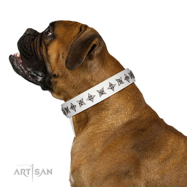 Top quality natural leather dog collar with significant studs