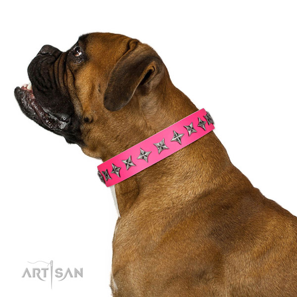 Best quality full grain natural leather dog collar with stylish decorations