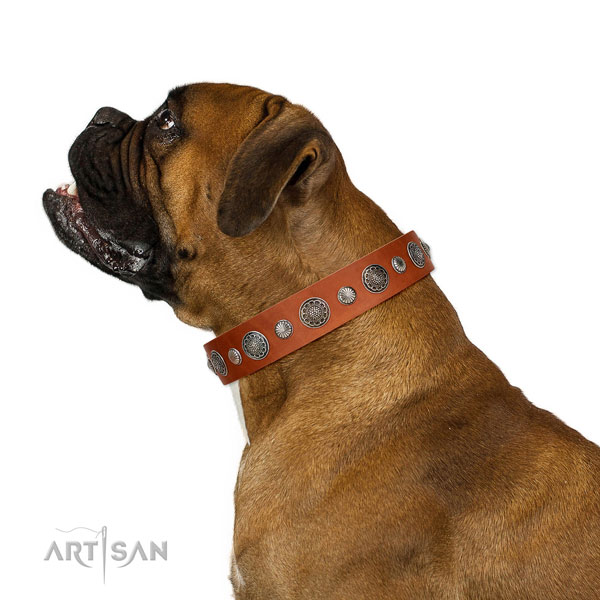 Perfect fit leather dog collar with rust-proof hardware