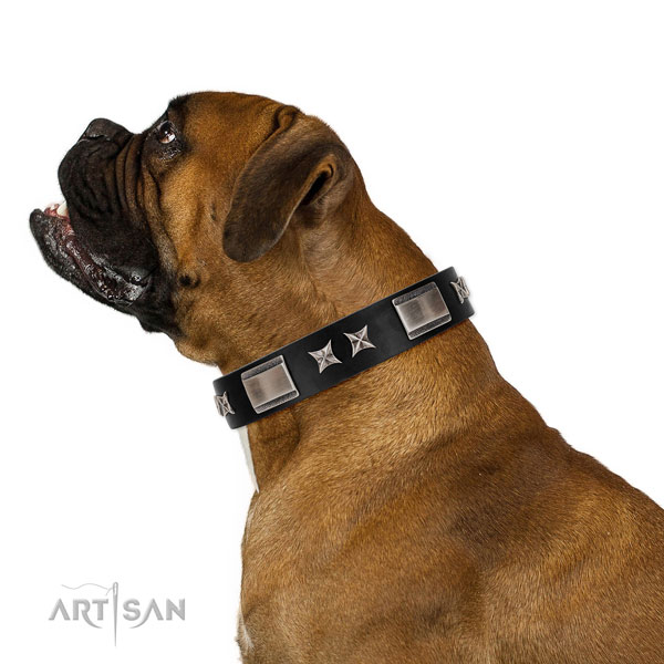 Walking reliable full grain genuine leather dog collar with studs
