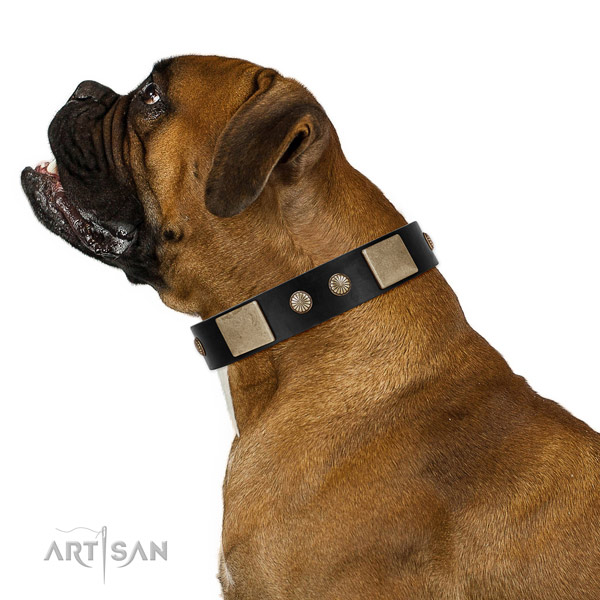Stylish design full grain leather collar for your lovely doggie