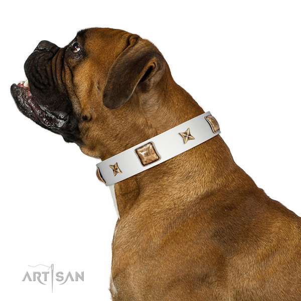 Easy wearing natural leather dog collar with decorations