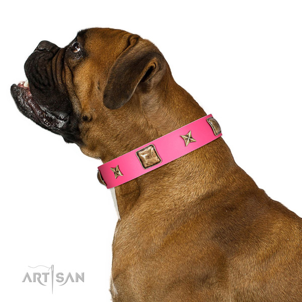 Full grain genuine leather dog collar of soft material with incredible decorations