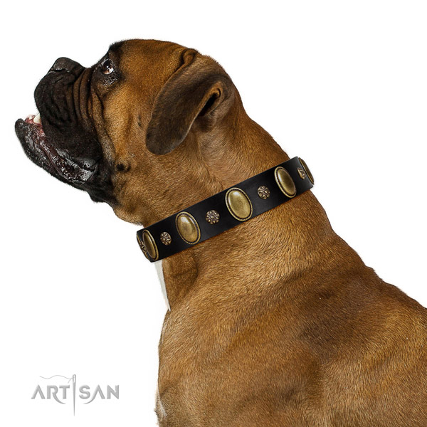 Stylish walking reliable full grain leather dog collar with decorations