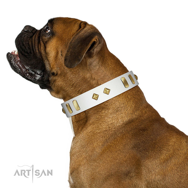 Comfy wearing flexible full grain leather dog collar with decorations