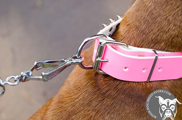 Pink Boxer collar with nickel plated hardware