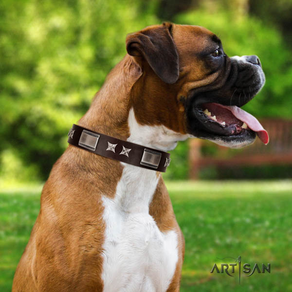 Boxer natural genuine leather collar with corrosion proof D-ring