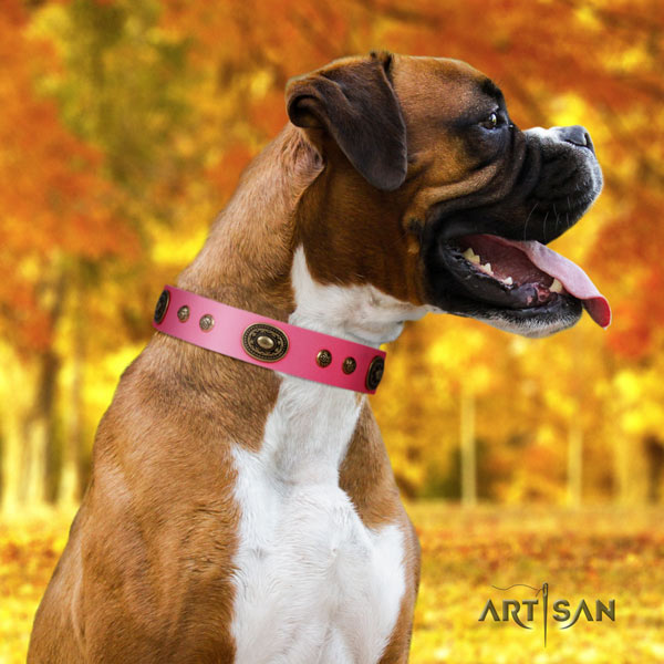 Boxer easy adjustable natural leather collar with corrosion proof buckle