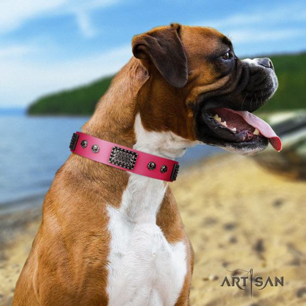 Boxer adjustable genuine leather collar with corrosion proof fittings