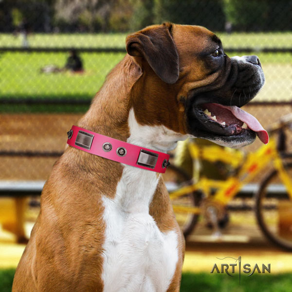 Boxer full grain natural leather collar with rust resistant hardware