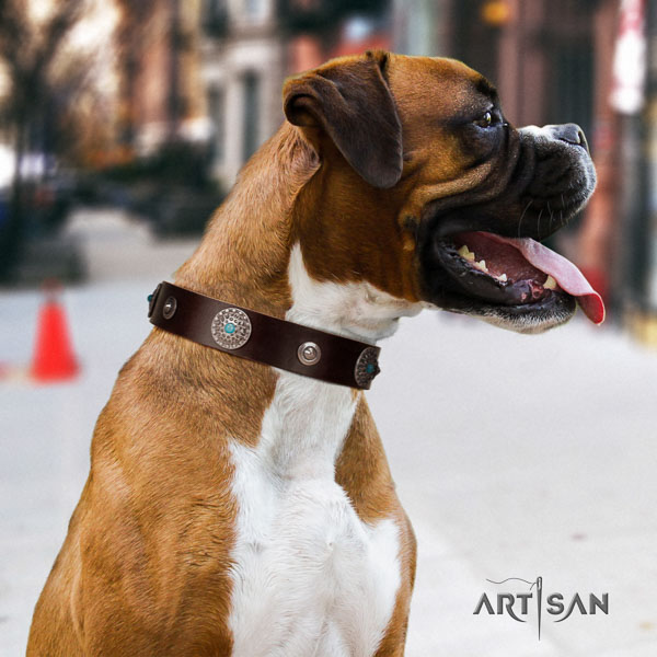 Boxer inimitable full grain leather dog collar for comfy wearing