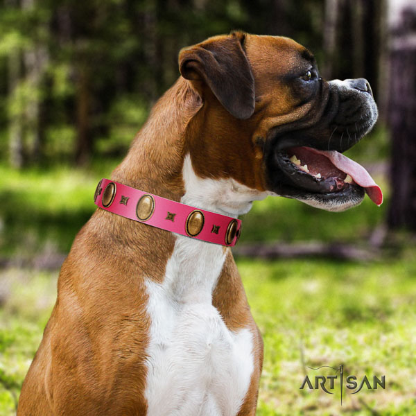 Boxer top quality genuine leather dog collar for stylish walking