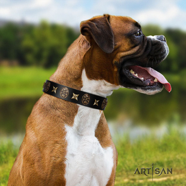 Boxer convenient full grain natural leather dog collar for comfortable wearing