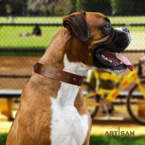Boxer natural genuine leather collar with corrosion resistant D-ring for stylish walking