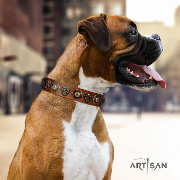 Boxer fashionable natural genuine leather dog collar for fancy walking
