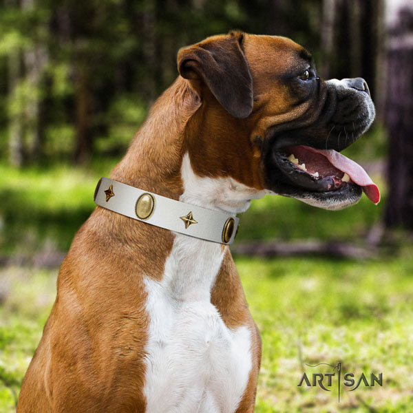 Boxer stylish natural genuine leather dog collar for fancy walking