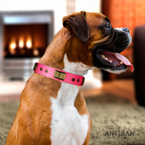 Boxer incredible full grain natural leather collar with rust resistant hardware