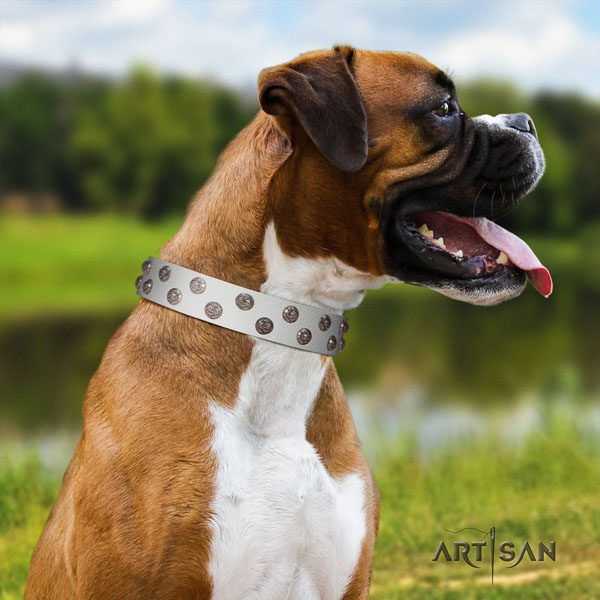 Boxer adjustable natural genuine leather dog collar for comfy wearing