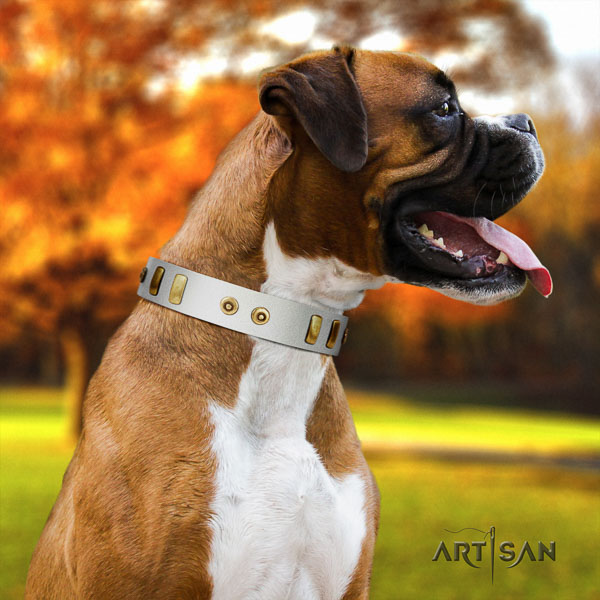 Boxer trendy natural genuine leather dog collar for fancy walking