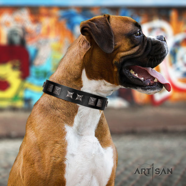 Boxer full grain genuine leather collar with reliable D-ring for handy use