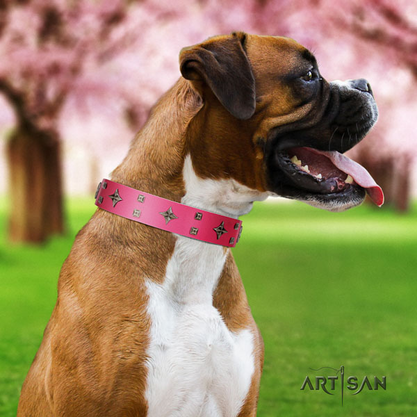 Boxer unique leather dog collar for comfy wearing