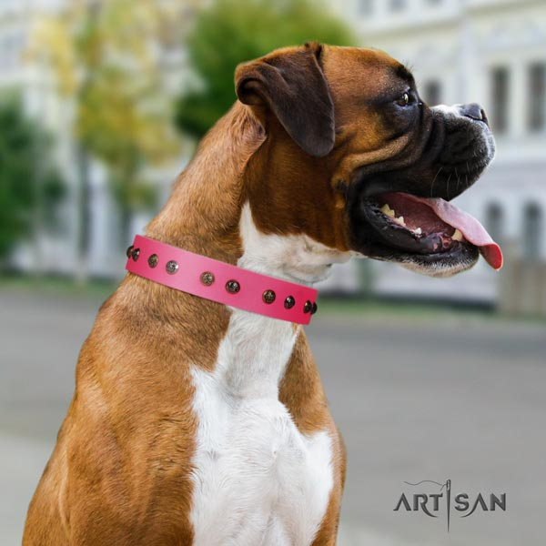 Boxer decorated genuine leather collar with rust resistant buckle