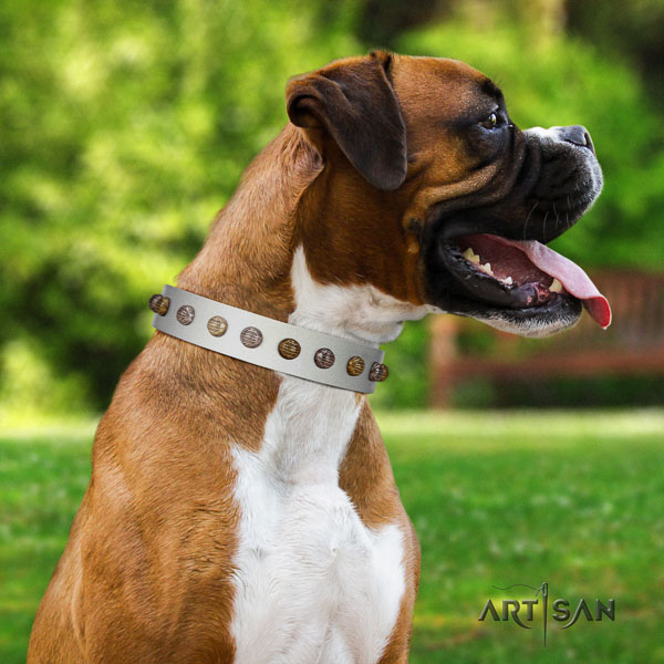Boxer designer natural genuine leather dog collar for fancy walking