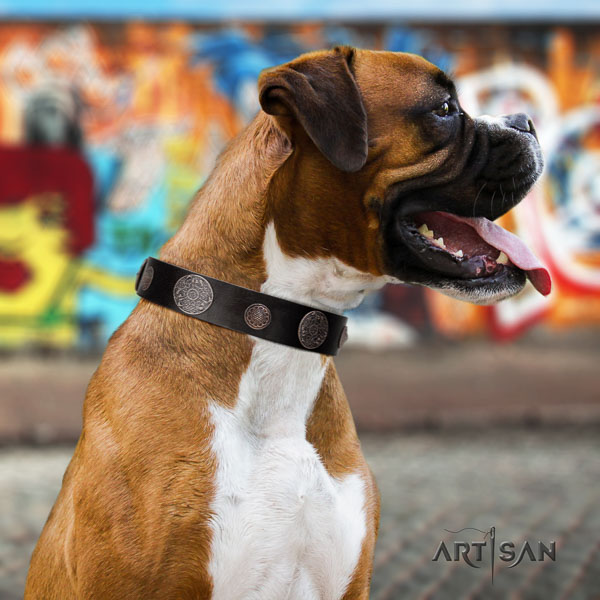 Boxer adorned full grain genuine leather dog collar for handy use