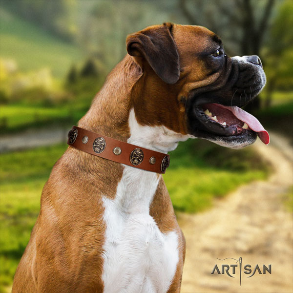 Boxer handmade natural genuine leather dog collar for comfy wearing