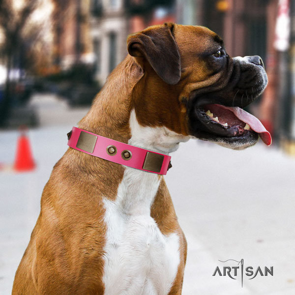 Boxer easy to adjust natural genuine leather dog collar for daily use